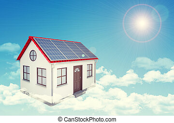 White house with red roof, solar panels in cloud Background...