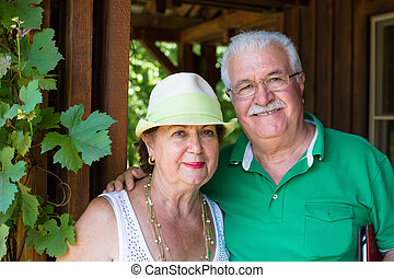 Happy trendy retired senior couple posing arm in arm on the...
