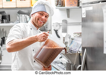 Confectioner making ice cream - Handsome confectioner in...