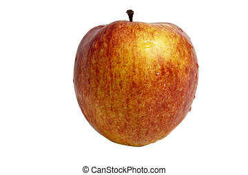 Red apple dew drops isolated with clipping path
