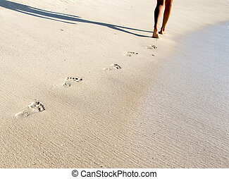 Footprints in beach - Footprints in wet sand of beach