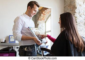 femme, choisir, cheveux, couleur, depuis, palette, à,...