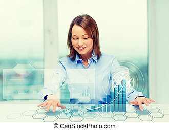 woman pointing to buttons on virtual screen - business,...