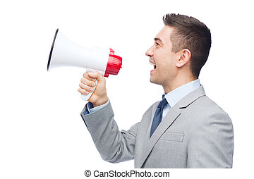 happy businessman in suit speaking to megaphone - business,...