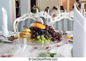 Fruit at restaurant on the served table