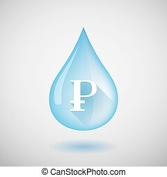 Water drop with a ruble sign