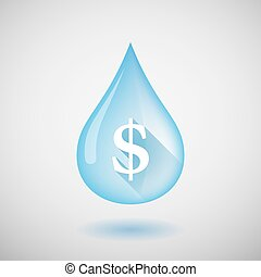 Water drop with a dollar sign