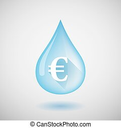 Water drop with an euro sign