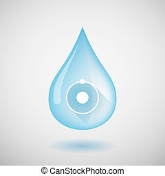 Water drop with an atom