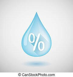 Water drop with a discount sign