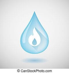 Water drop with a flame
