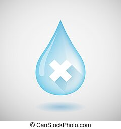 """Water drop with an """"X"""" sign"""