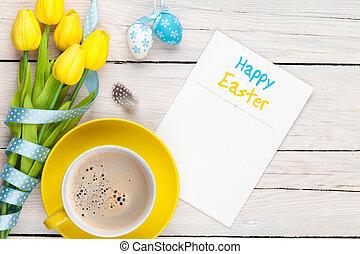 復活節, 問候, 卡片, 由于, 藍色, 以及, 白色,...