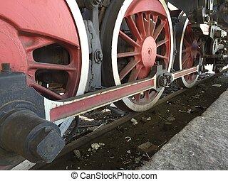 Historic steam engine on tracks