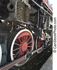 Historic steam engine on tracks