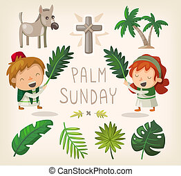 Palm Sunday design elements - Decorative elements for Palm...
