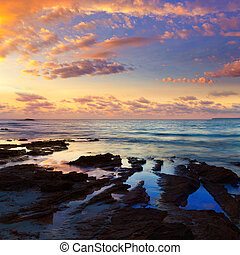 Majorca Sunset in Es Trenc beach in Campos of Mallorca at...