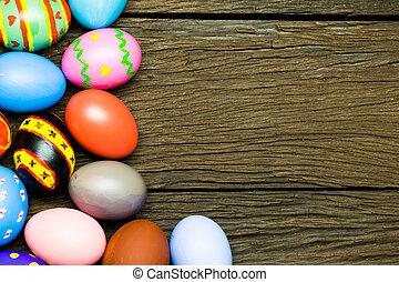 蛋, 木頭, 復活節, 背景
