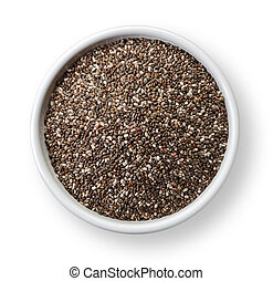 Chia seeds - White bowl of chia seeds isolated on white...