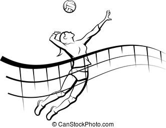 Volleyball Spike with Flowing Net - Stylized line design of...