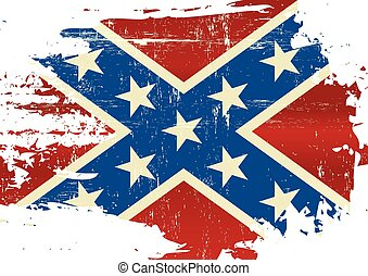 Scratched Confederate Flag - A Civil War flag with a grunge...