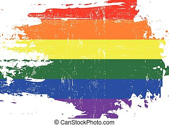 Scratched gay Flag - A flag of Gay culture with a grunge...