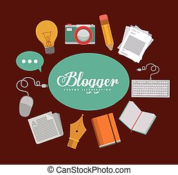 Blogger design, vector illustration