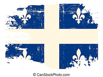 Scratched Quebec Flag - A flag of Quebec with a grunge...
