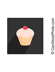 Vector cupcake with long shadow