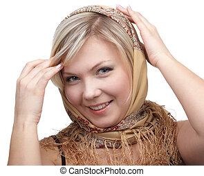 blonde girl in kerchief - portrait of beautiful slavonic...