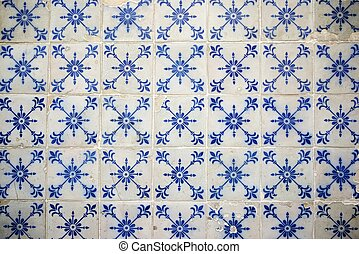 Tiled wall - Background created by a tiled wall, Lisbon,...