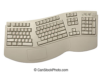 ergonomic computer keyboard with Russian letters isolated on...