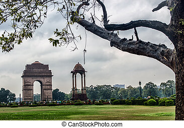 India Gate, New Delhi, India .commemoration of the 90,000...