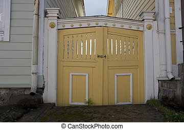 Old Wooden Gate - Old wooden gate in the old town of...