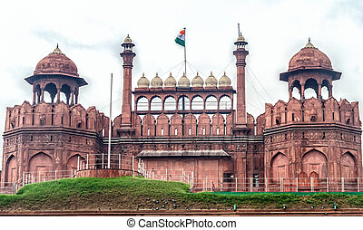 Red Fort, Delhi - The Red Fort durring the daytime in Delhi,...