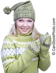 girl in warm clothes - portrait of beautiful slavonic blonde...