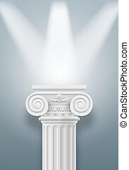 Column - White column illumination projectors on gray...
