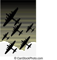 Night Raid - Fleet of World War II bombers against an...