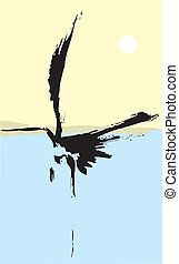 One Heron - Heron rendered with simple japanese influenced...