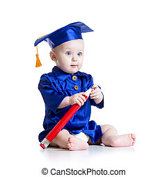 Baby in academician clothes - Baby with big pencil in...