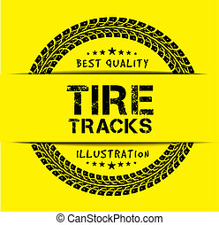 Tire tracks. Illustration on yellow background