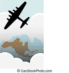 Bomber Over USA - American Bomber over the USA in retro...