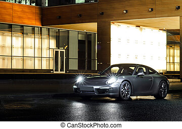 Luxury sport car night view