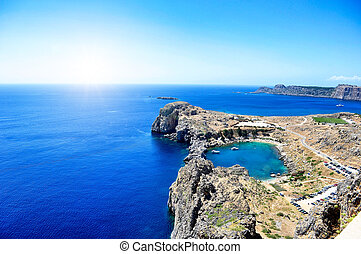 Lindos - Overlooking the main beach at Lindos on the Island...