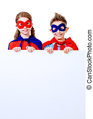 defenders - Boy and girl teenagers in a costume of...