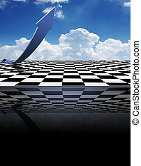 Chessboard floor with an arrow with blue sky and clouds in...
