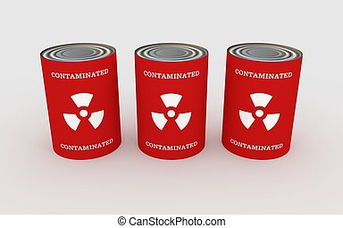 Contaminated Food - Illustration of three cans of food with...
