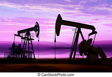 oil pumps on cloud sky - silhouette of working oil pumps on...