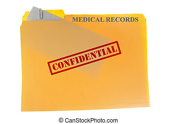 Medical records envelope attached to a file-folder with...