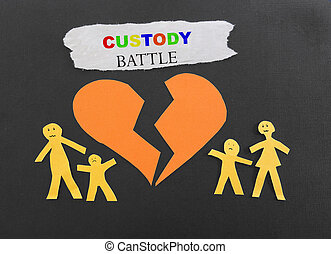 Child custody battle - Paper family with broken heart and...
